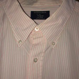 Gitman Bros. Men's Baby Pink & White Striped Shirt
